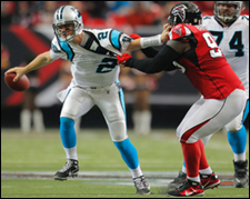 Jonathan Babineaux sacks Jimmy Clausen
